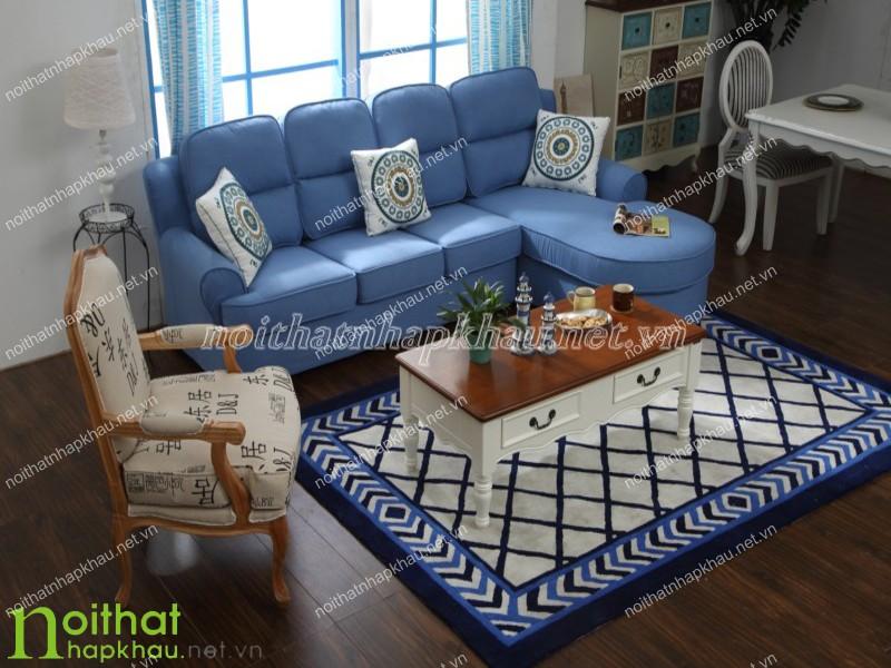 Sofa cổ điển màu xanh Coban