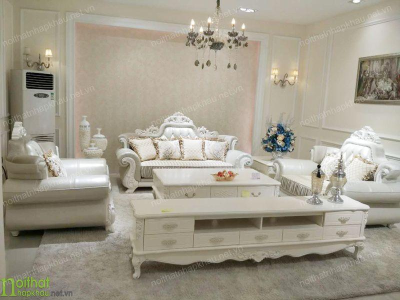 Bộ sofa cổ điển bọc da cao cấp quý phái và sang trọng
