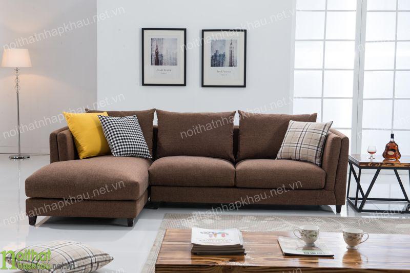 Ghế sofa góc hiện đại bằng chất liệu nỉ