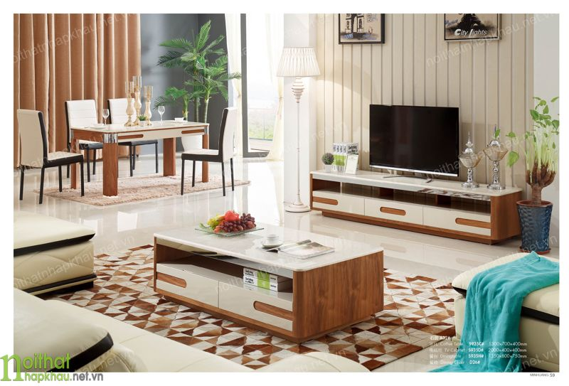 Mẫu bàn trà gỗ veneer hiện đại, thiết kế tinh tế