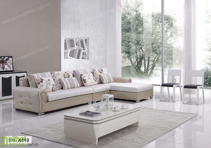 Ghế sofa kết hợp chất liệu da và nỉ độc đáo