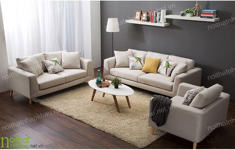 Kết hợp bộ ghế sofa phòng khách phong cách Bắc Âu với sàn gỗ