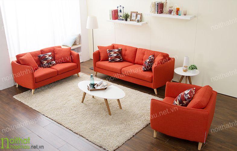 Bộ sofa bọc vải màu sắc nổi bật mang đến không gian ấn tượng