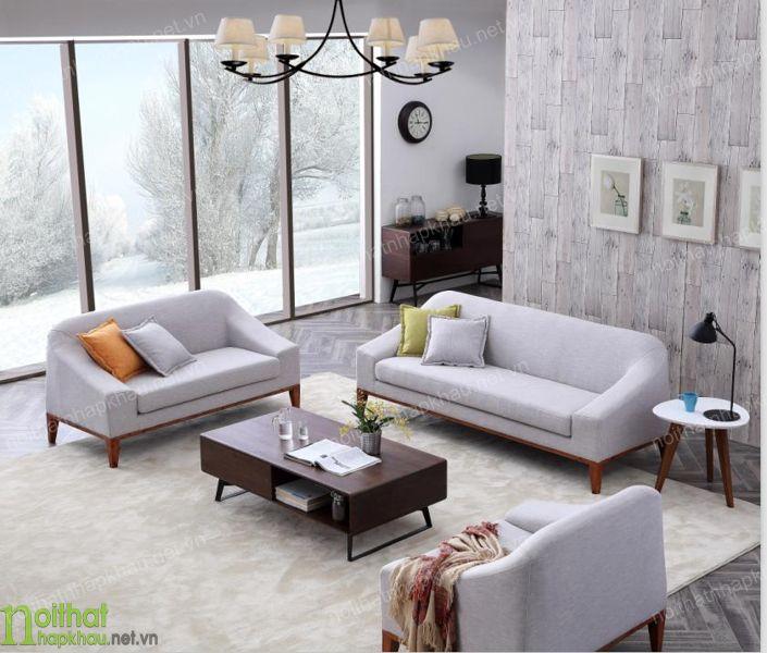 Mẫu sofa chữ U màu ghi sáng cho không gian phòng khách rộng