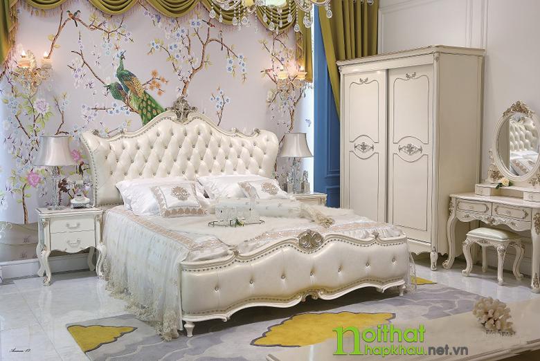 Giường ngủ tommy sơn ngọc trai 6008