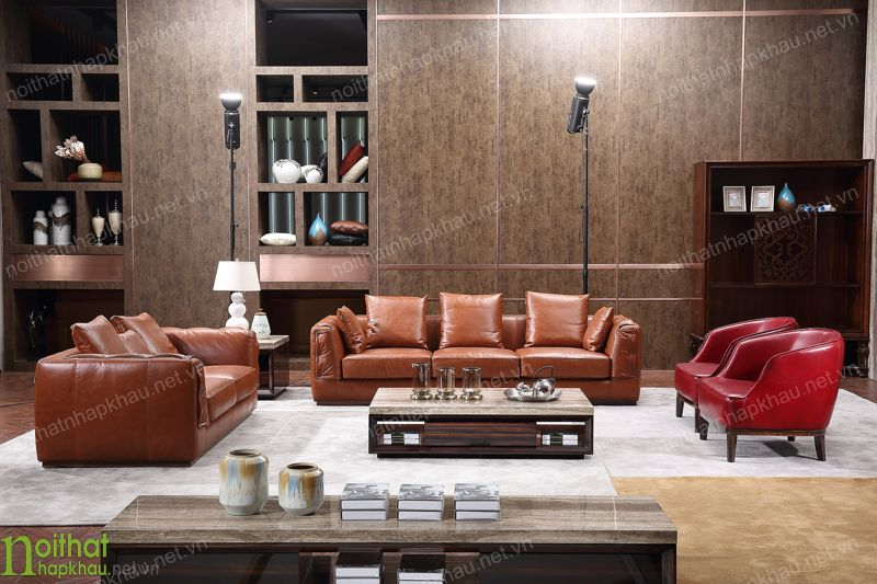 Bộ sofa da thật được làm từ chất liệu da bò cao cấp, độ bền và tính thẩm mỹ cao