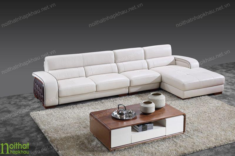 Mẫu nội thất đẹp cho căn phòng khách hiện đại- sofa da góc chữ L