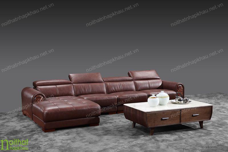Ghế sofa góc bằng chất liệu da cao cấp