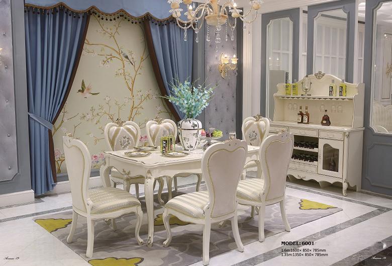 Bàn ăn tommy sơn ngọc trai 6001 – ghế ăn 6001