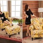 mẫu ghế sofa đơn màu vàng