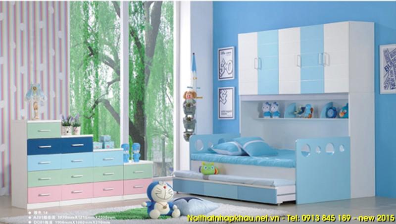Giường tầng A201 – xanh