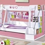 giường tầng đẹp cho trẻ em A14 hồng