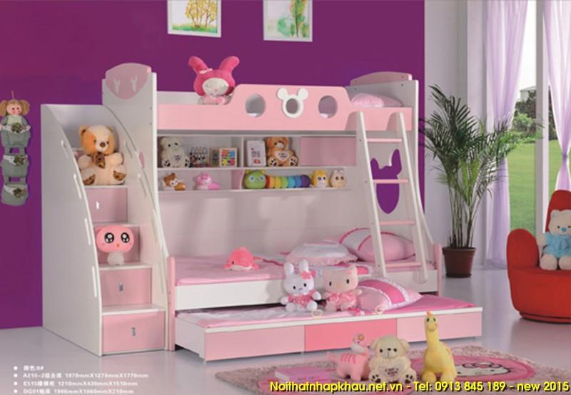 Giường tầng A210-hồng