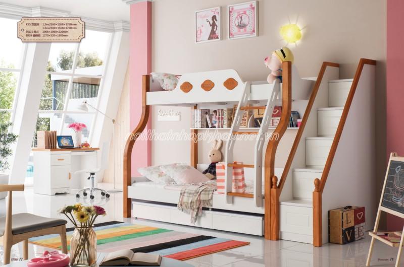 Giường tầng giúp cuộc sống sinh hoạt thường ngày của bé thuận tiện hơn