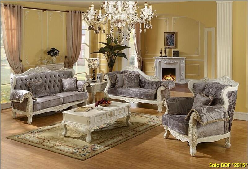 Bộ sofa cổ điển bọc nỉ nhung sang trọng