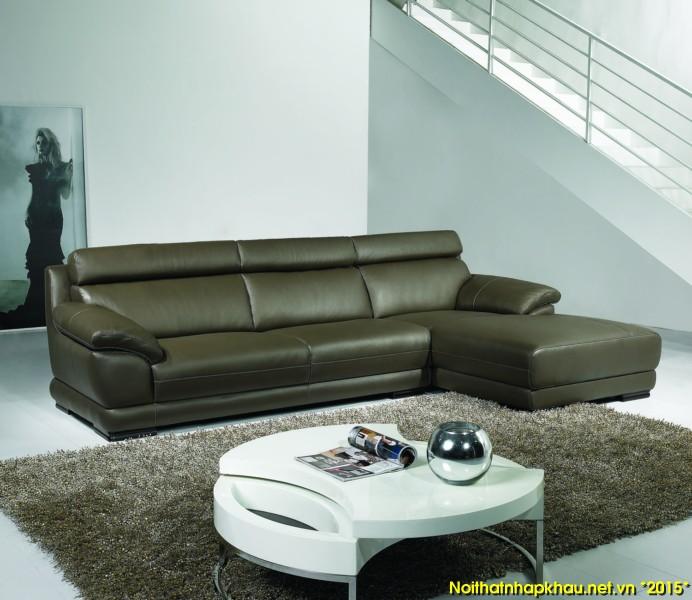 Kết hợp ghế sofa da cao cấp góc chữ L với bàn tràtròn