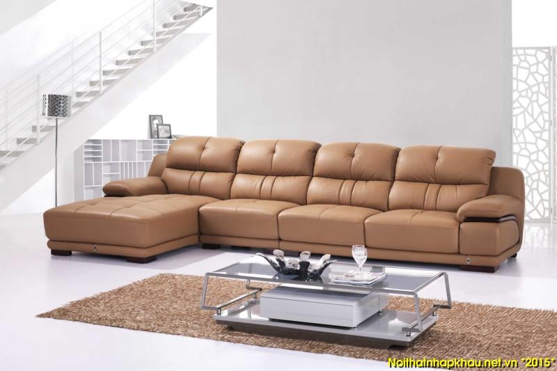 Ghế sofa da cao cấp kết hợp bàn trà hiện đại