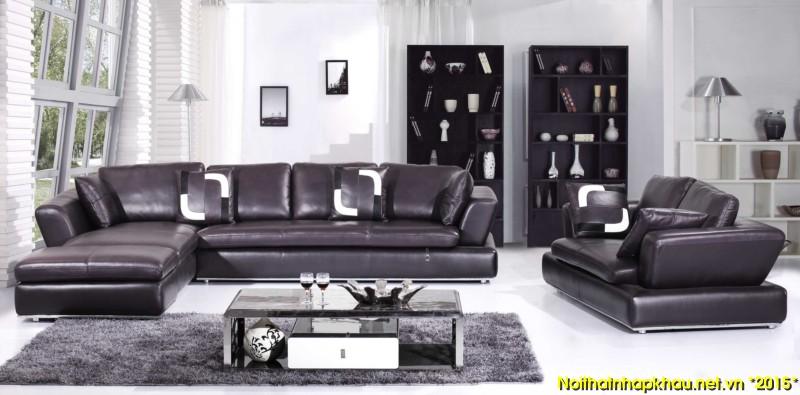 Ghế sofa đen với kiểu dáng góc chữ L đẹp
