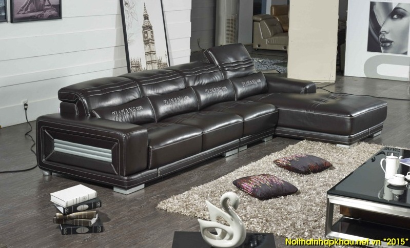 Sofa da màu đen sang trọng