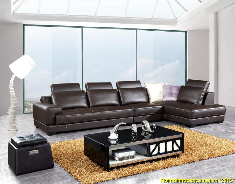 Mẫu ghế sofa phòng khách góc chữ L kết hợp với đôn nhỏ xinh