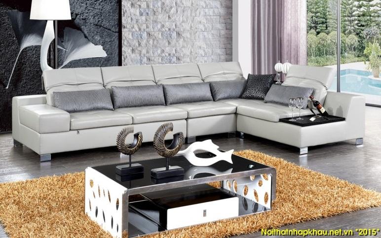 Ghế sofa góc chữ L kết hợp với bàn trà chữ nhật