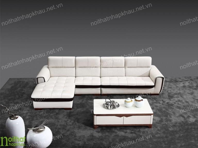 Ghế sofa da góc chữ L màu trắng trang nhã