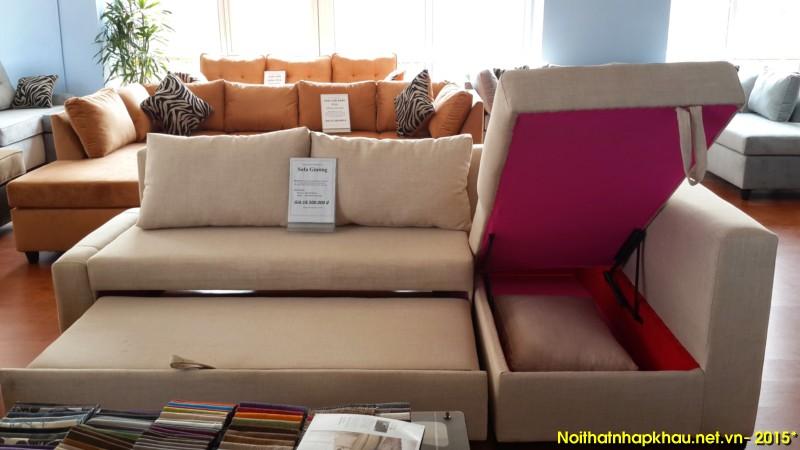 Phần hộc tủ của ghế sofa giường có thể đựng thêm chăn, màn