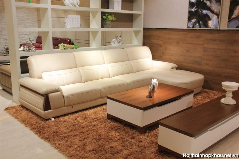 Sofa da góc L kết hợp bàn trà hình chữ nhật