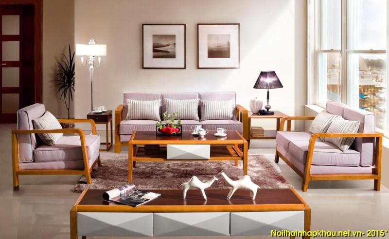 Phòng khách sang trọng với bộ ghế sofa gỗ