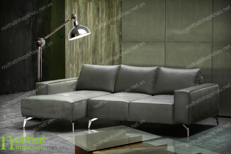 Ghế sofa văng màu ghi xámmang đến sự sang trọng và đẳng cấp với chất liệu da bò thật