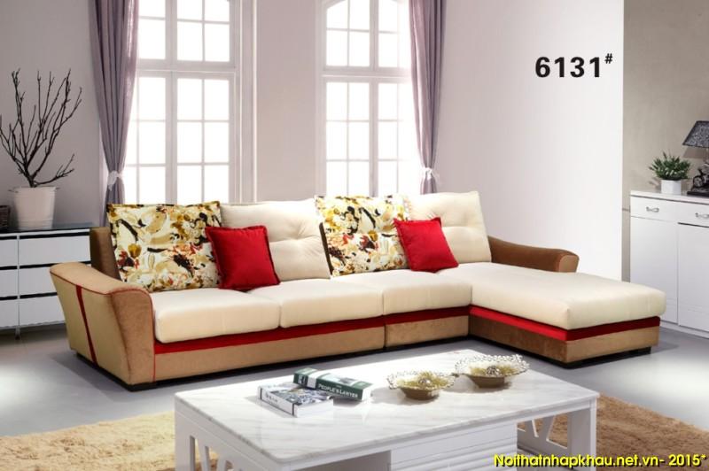 Sofa nỉ góc L kết hợp cùng gối ôm màu sắc cho phòng khách hoàn hảo
